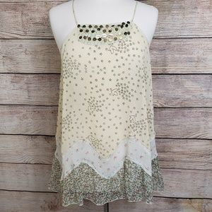 Free People Embellished Bird Print Tank Top Sz M